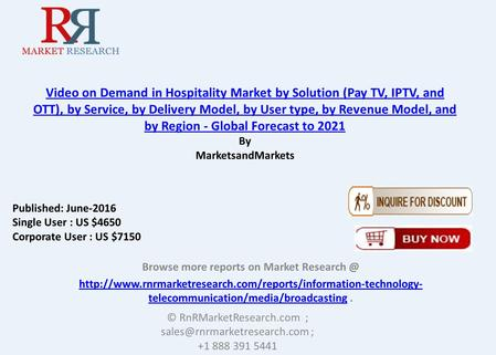 Video on Demand in Hospitality Market by Solution, Service & User Type