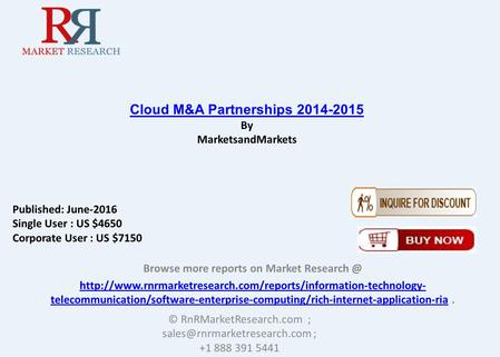Cloud M&A Partnerships 2014-2015: Partnership & Joint Venture Analysis