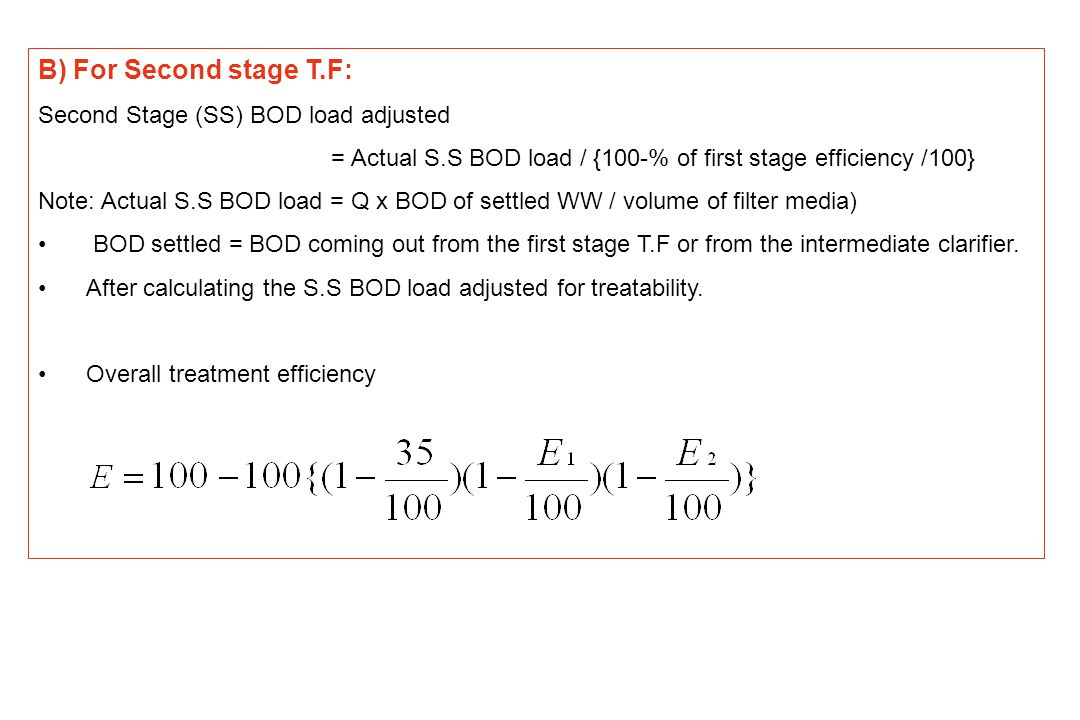 Efficiency curve for second stage trickling filter based on NRC Efficiency percent BOD removal BOD load (g/m 3 /day)