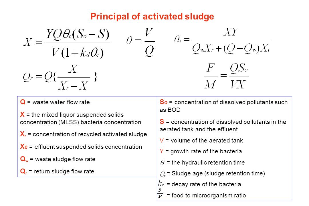 Example 1 Design an activated sludge process to yield an effluent BOD of 20 mg/l and suspended solids of 25 mg/l.