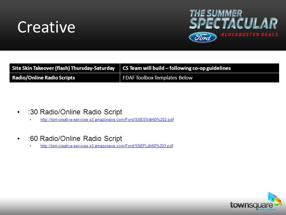 Media Plan StationWebsite Site TakeoverRadioOnline Radio KEANKEANRADIO.COM 100% SOV 75 KEYJKEYJ.COM 100% SOV 75 150 ALL AD PRODUCTS INCLUDED ARE TIER III CO-OP APPROVED VIA FORD CO-OP GUIDELINES RADIOKEAN AND KEYJ FLIGHT7/2 – 7/67/8-7/137/15-7/207/22-7/27 Suggested Flights Total July Investment $5,400 SITE SKINKEAN AND KEYJ FLIGHT7/4-7/67/11-7/137/18-7/207/25-7/27