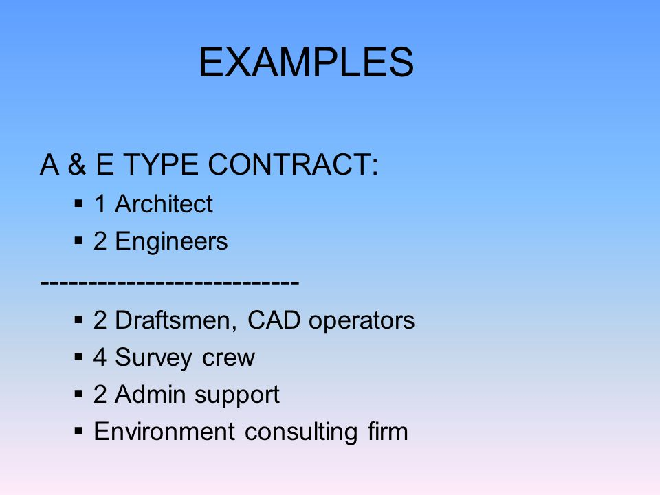 Contract for software support 3 software engineers, 4-year degrees in computer science 5 computer programmers, 4-year degrees in computer science 10 computer technicians, with a minimum of 5 years of experience, certified in various areas 1 technical writer, mil spec experience