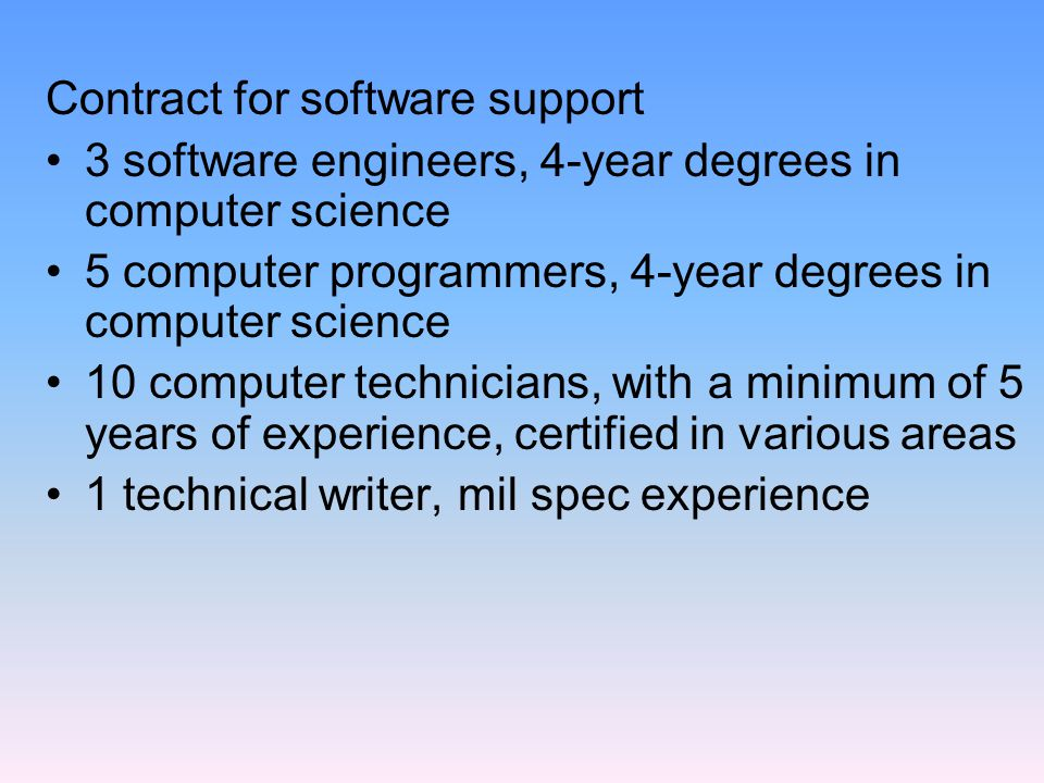 Education/Training Contract Education counselor – 2 FTEs Test monitor – 1 FTE Computer specialist – 1 FTE Tech writer – 6 FTE Subject matter experts – 6 FTEs Hint: Job titles can be misleading