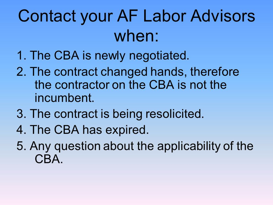 CBA-based WDs Note, a separate WD must be created for each CBA of the prime and any subcontractors.