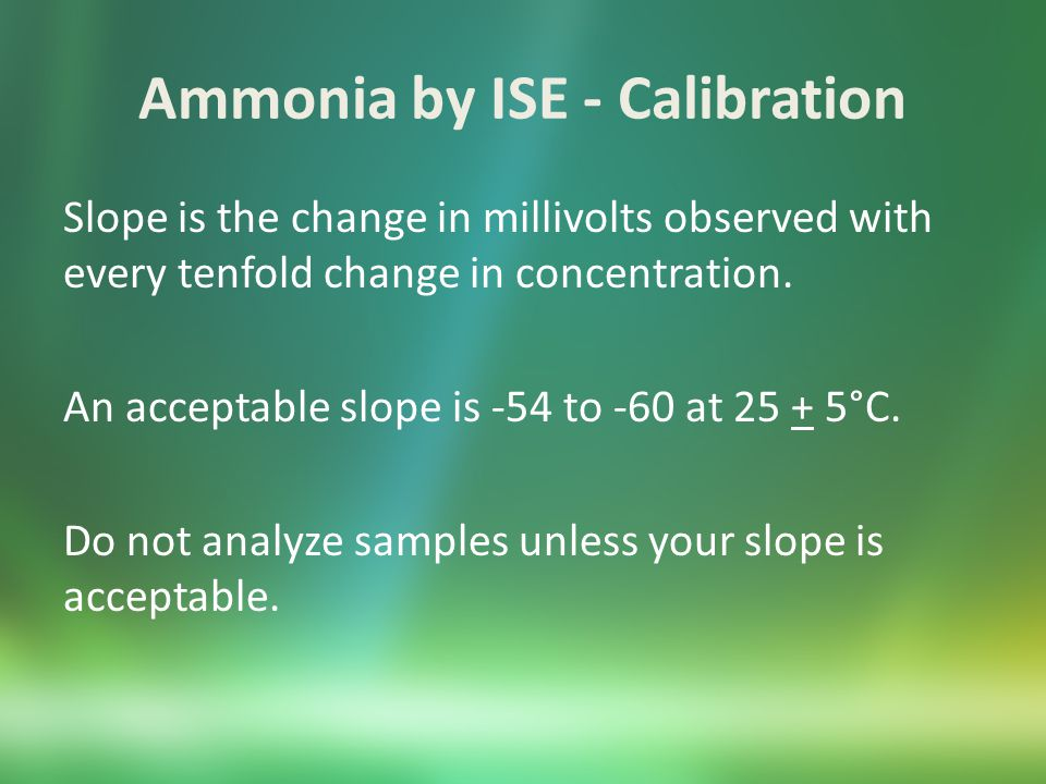Ammonia by ISE - Samples General Directions Pour 100 mL of sample into an Erlenmeyer flask.