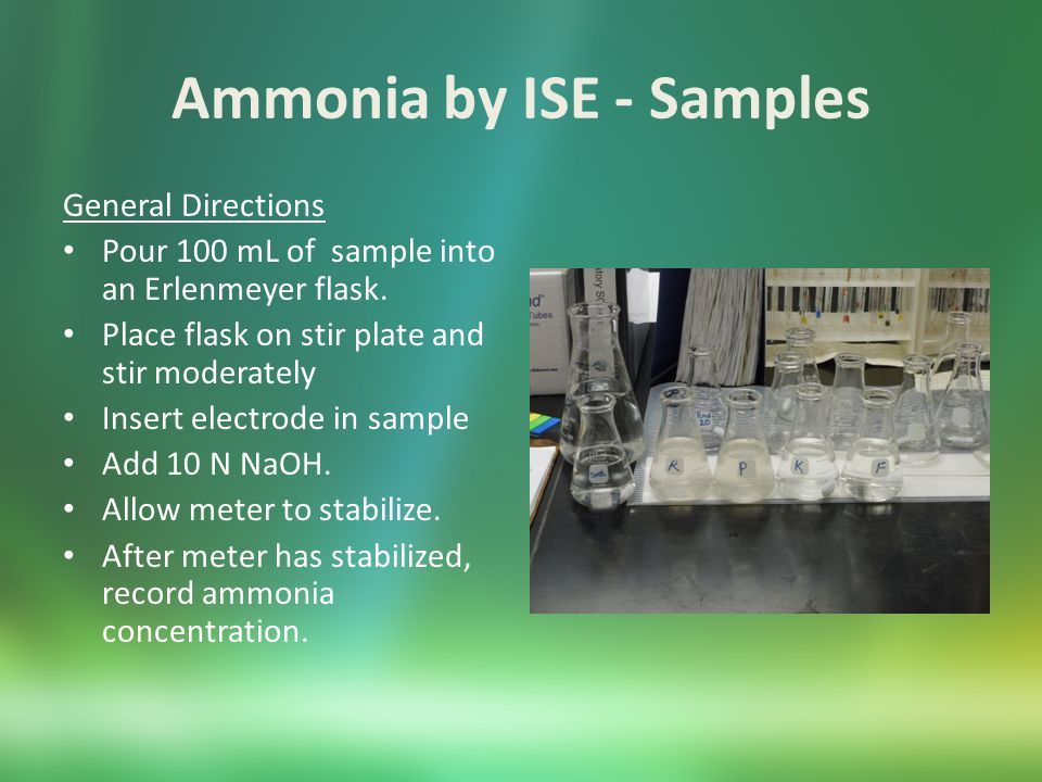 Ammonia by ISE – Sample Pretreatment You can eliminate interferences with preliminary distillation.