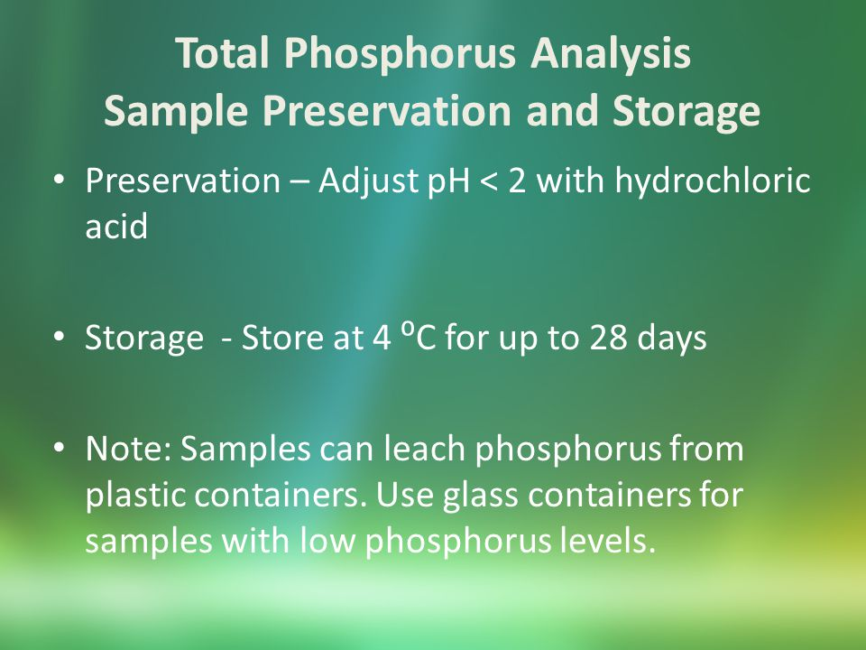 Total Phosphorus using Hach (ascorbic acid colorimetry) Supplies Heating block (Hach COD reactor) Spectrophotometer Auto-pipetters Reagents Hach Total Phosphorus Test N Tube Reagent Set includes reaction vials, potassium persulfate packets, sodium hydroxide, and ascorbic acid packets.