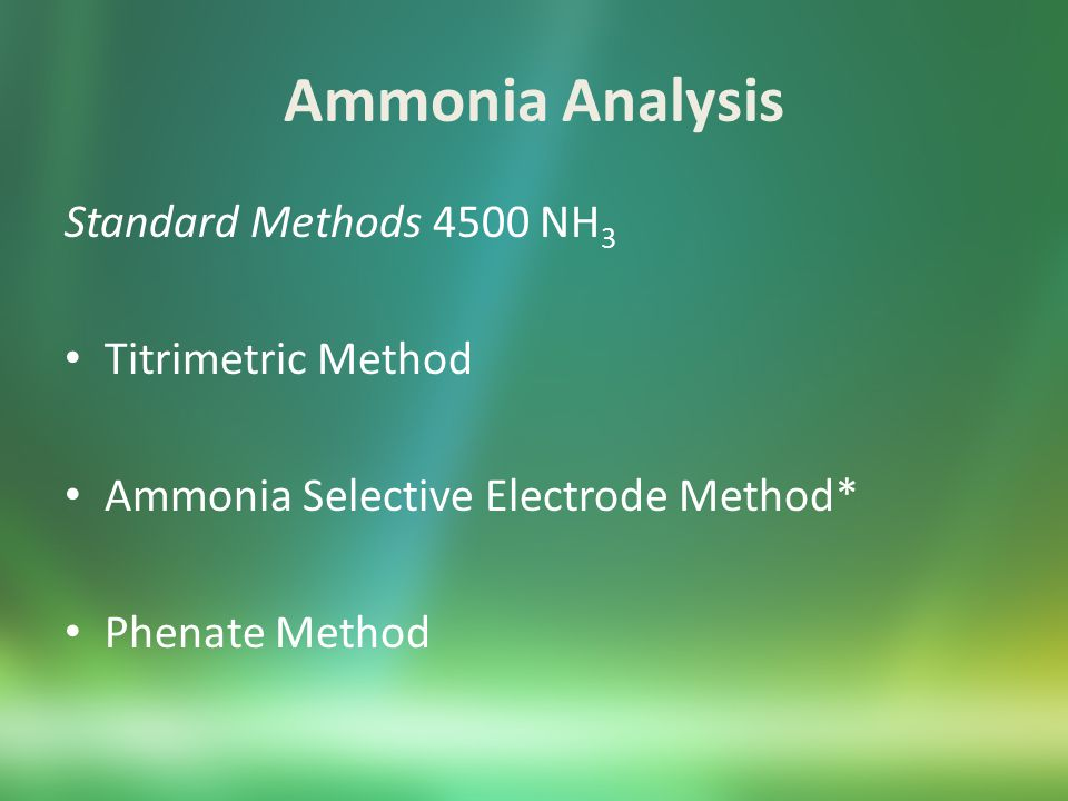Ammonia Analysis Sample Preservation and Storage If samples will be analyzed within 24 hours, refrigerate at 4 ⁰C If samples will be analyzed after 24 of collection, acidify to pH < 2 with sulfuric acid and store at 4 ⁰C.