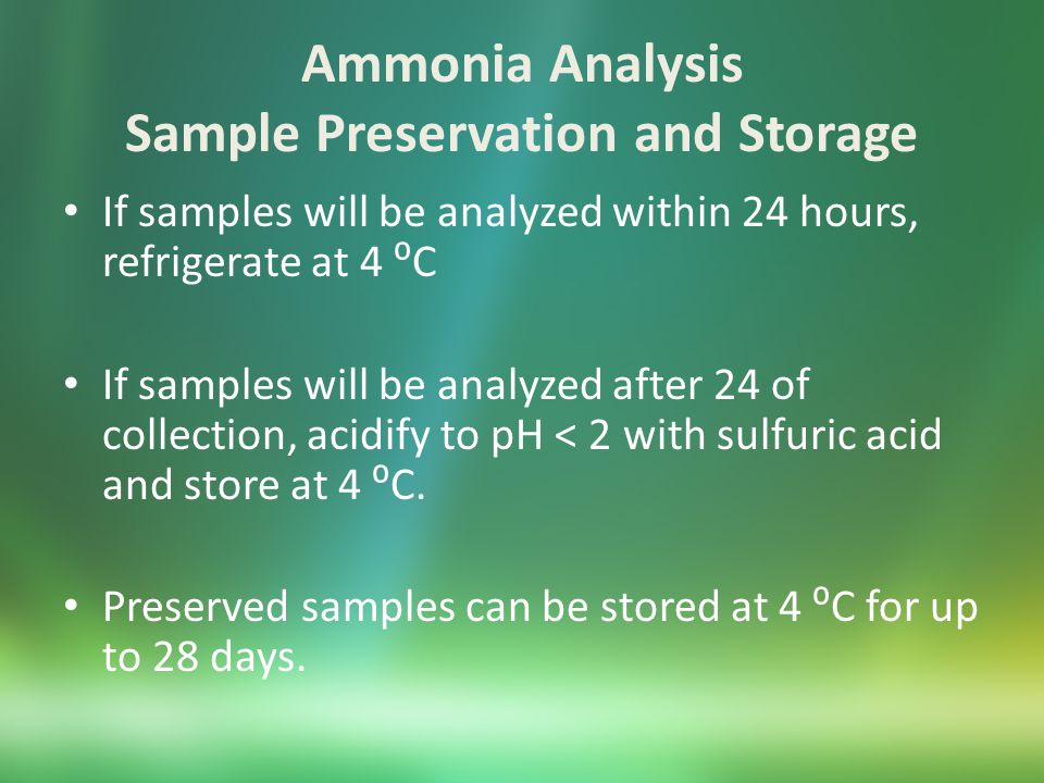 Ammonia by ISE Equipment pH/ISE Meter Ammonia ion selective electrode Stir plate Volumetric flasks Erlenmeyer flasks pipets Chemicals Ammonia standard (1000 ppm) 10 N sodium hydroxide