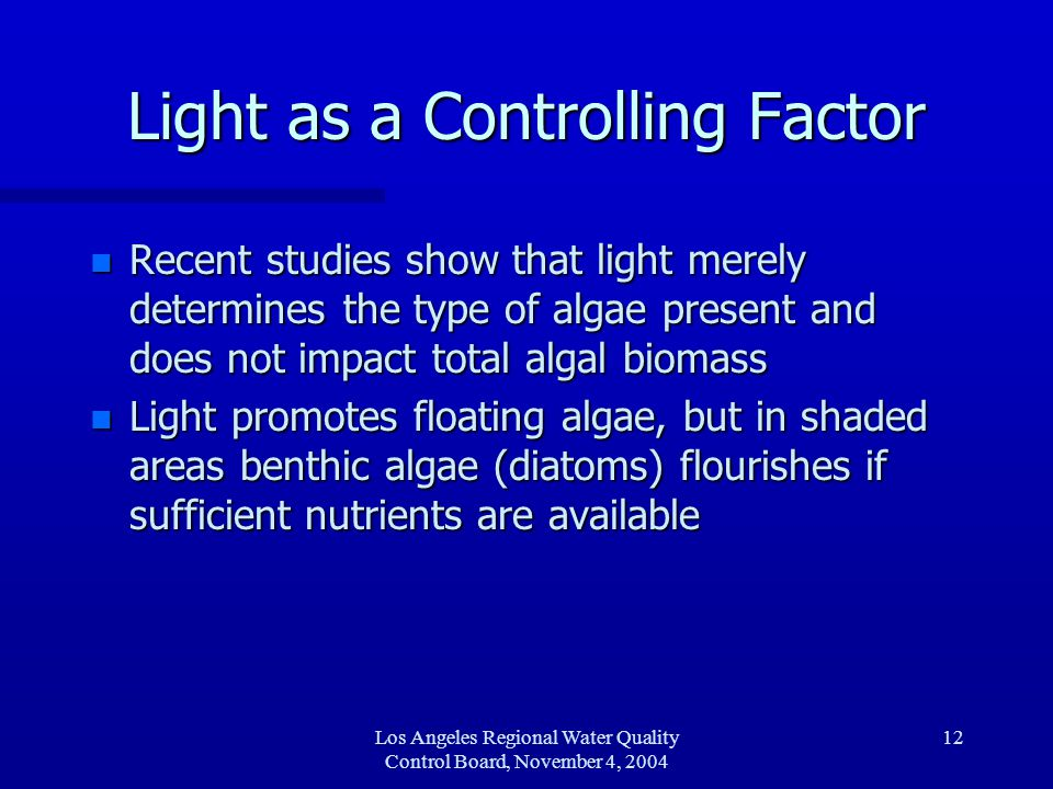Los Angeles Regional Water Quality Control Board, November 4, 2004 13 Current as a Controlling Factor n Common wisdom suggested that high currents sweep algae away.