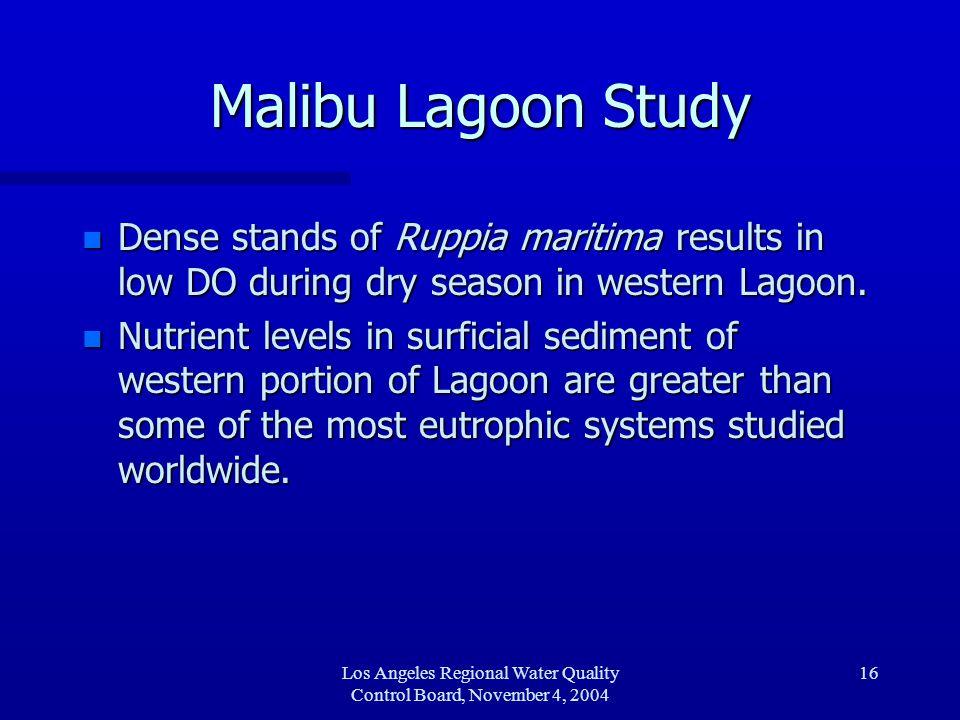 Los Angeles Regional Water Quality Control Board, November 4, 2004 17 Update – LARWQCB TMDL n Slide of lagoon
