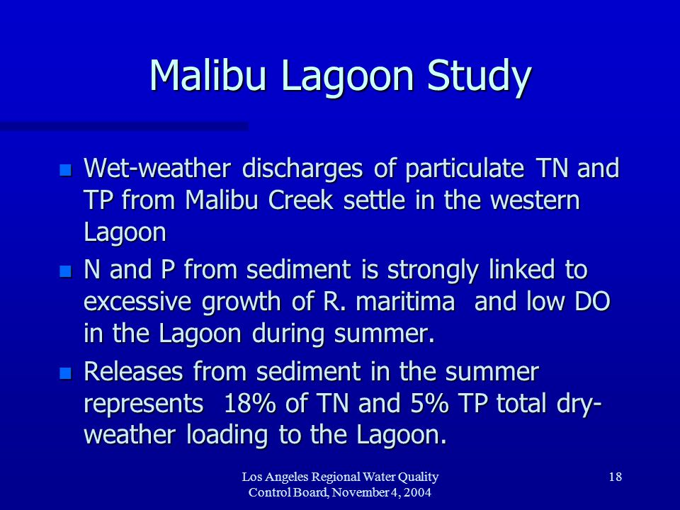 Los Angeles Regional Water Quality Control Board, November 4, 2004 19 Malibu Lagoon Study n Deposition of particulate organic N and P major source to sediment n Diffusion of high dissolved inorganic nitrate/nitrite from surface water to sediment only about 5% of loading to Lagoon sediment n Deposition occurs during episodic rain events n Nutrient sources may result from stormwater runoff or instream sediment, instream algae or ocean sediment or ocean algae.
