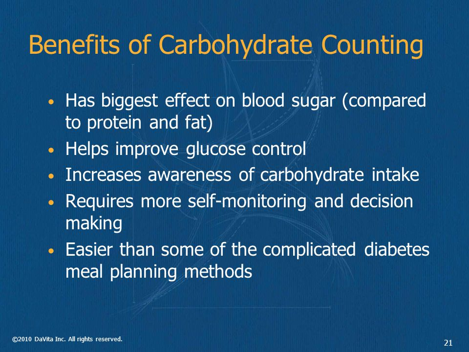 ©2010 DaVita Inc.All rights reserved. 22 Carbohydrate Counting Which food groups have Carbs.