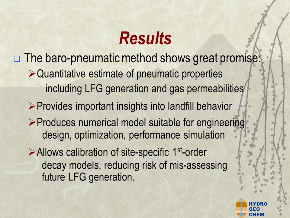 HYDRO GEO CHEM Conclusions  The consistency and plausibility of the results support the validity of the baro-pneumatic method : 1.Excellent model fits to data in numerical calibration 2.Narrow range and reasonable values for calibrated model L 0 3.LFG collection data (where available) confirm results