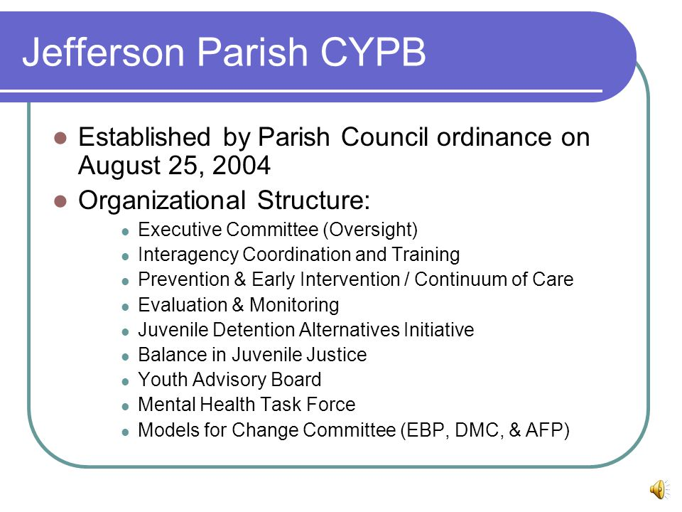 Jefferson Parish CYPB Established by Parish Council ordinance on August 25, 2004 Organizational Structure: Executive Committee (Oversight) Interagency Coordination and Training Prevention & Early Intervention / Continuum of Care Evaluation & Monitoring Juvenile Detention Alternatives Initiative Balance in Juvenile Justice Youth Advisory Board Mental Health Task Force Models for Change Committee (EBP, DMC, & AFP)