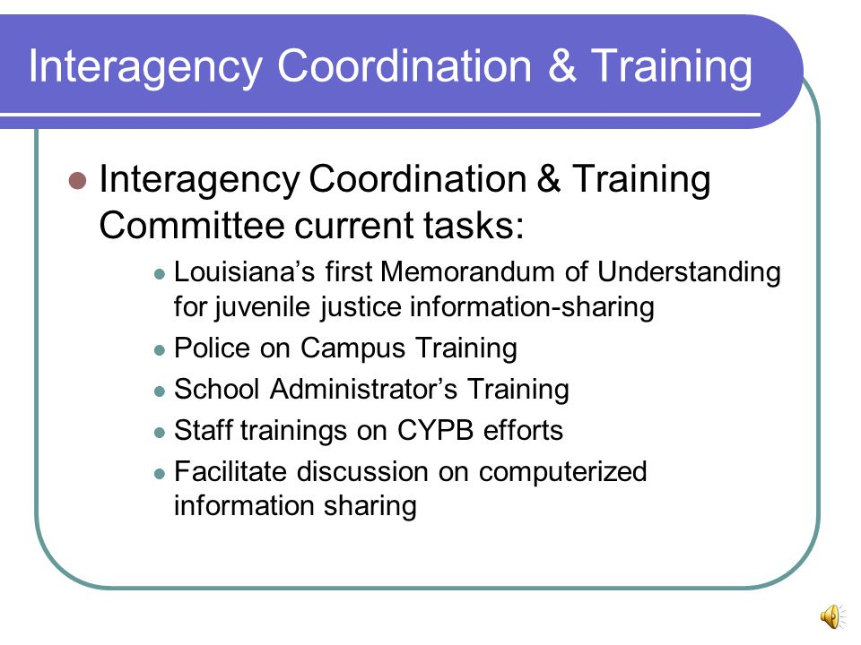 Interagency Coordination & Training Interagency Coordination & Training Committee current tasks: Louisiana's first Memorandum of Understanding for juvenile justice information-sharing Police on Campus Training School Administrator's Training Staff trainings on CYPB efforts Facilitate discussion on computerized information sharing