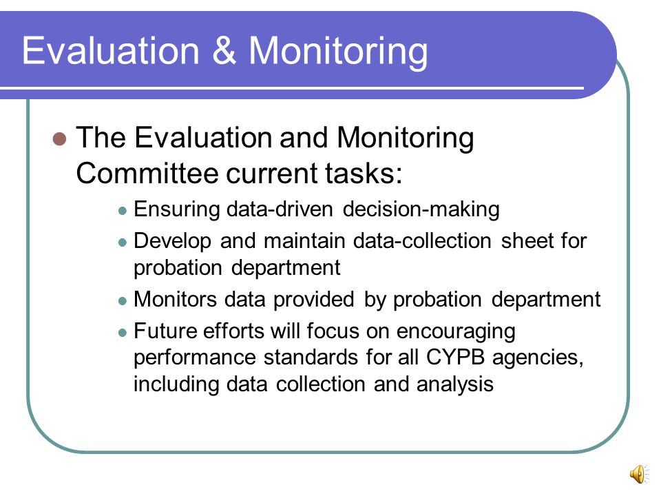 Evaluation & Monitoring The Evaluation and Monitoring Committee current tasks: Ensuring data-driven decision-making Develop and maintain data-collection sheet for probation department Monitors data provided by probation department Future efforts will focus on encouraging performance standards for all CYPB agencies, including data collection and analysis