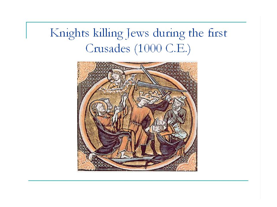 Antisemitic pamphlet with illustration of ritual murder of a Christian boy by a Jew.