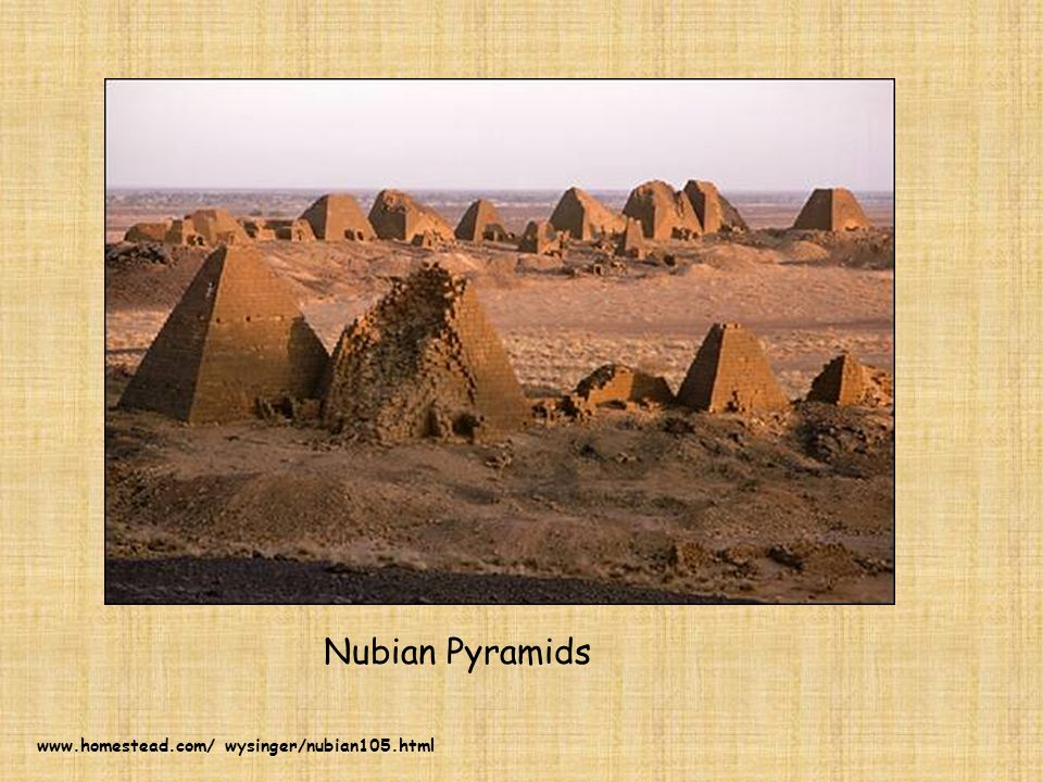 These are the pyramids of Egypt.Compare them to those of Nubia.