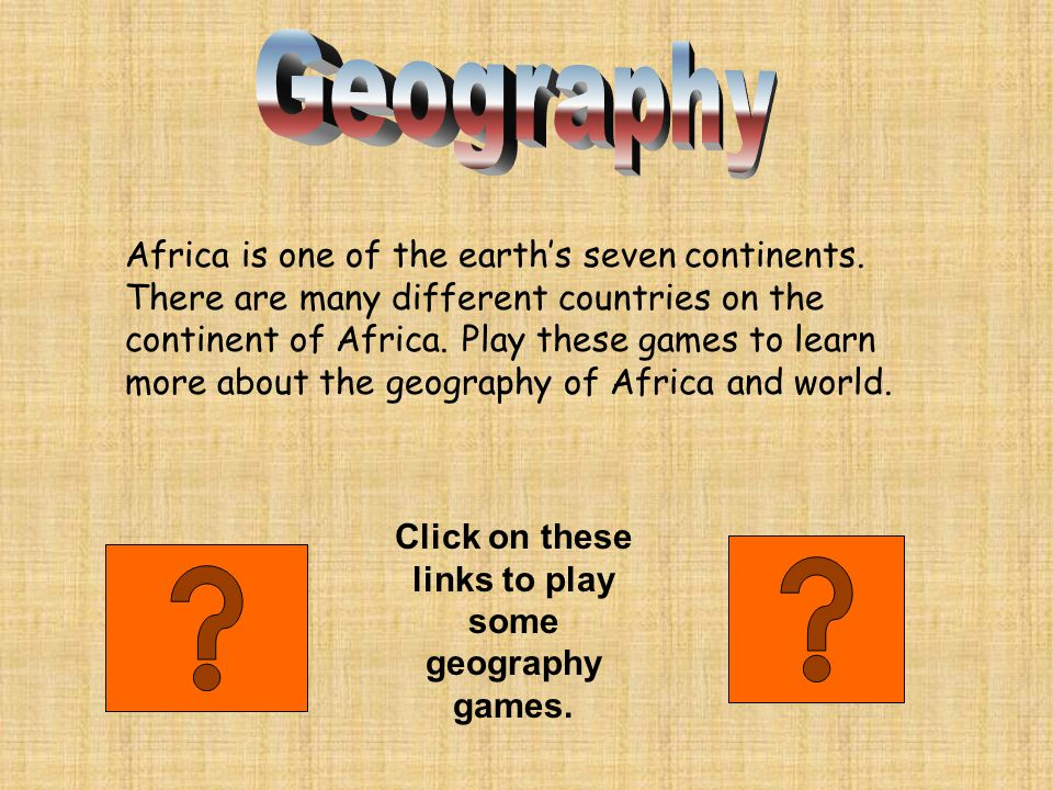How well do you know the countries of Africa? Click on the words above to play.