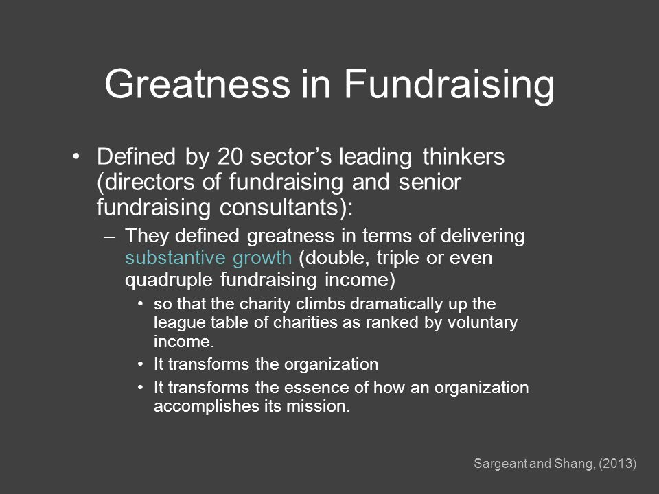 Greatness in fundraising This presentation tells you how these organizations did it: –Cancer Research UK –British Red Cross –NSPCC –Save the Children –Royal British Legion AND what that means for fundraising education