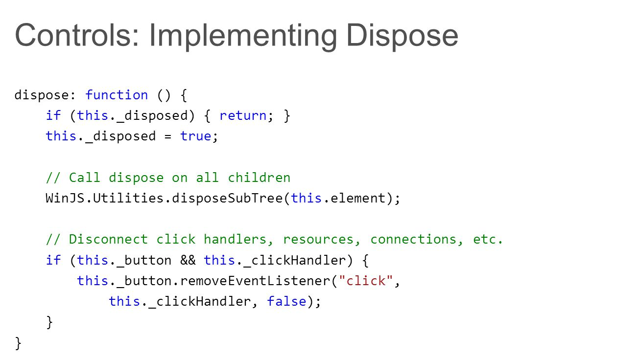 Apps: Calling Dispose // Responds to navigation by adding new pages to the DOM.