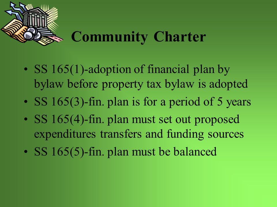 Community Charter SS 166-public consultation required before fin.