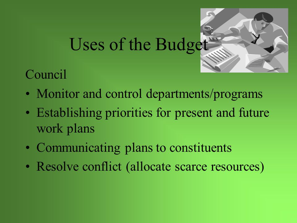 Uses of the Budget Management Team Control expenditures Incentive performance planning of departments and personnel Planning for goal setting Communicating needs for additional resources
