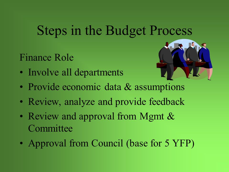 Steps in the Budget Process Additional Level Requests-represents new items such as new programs or program enhancements from the previous year's budget Eg.