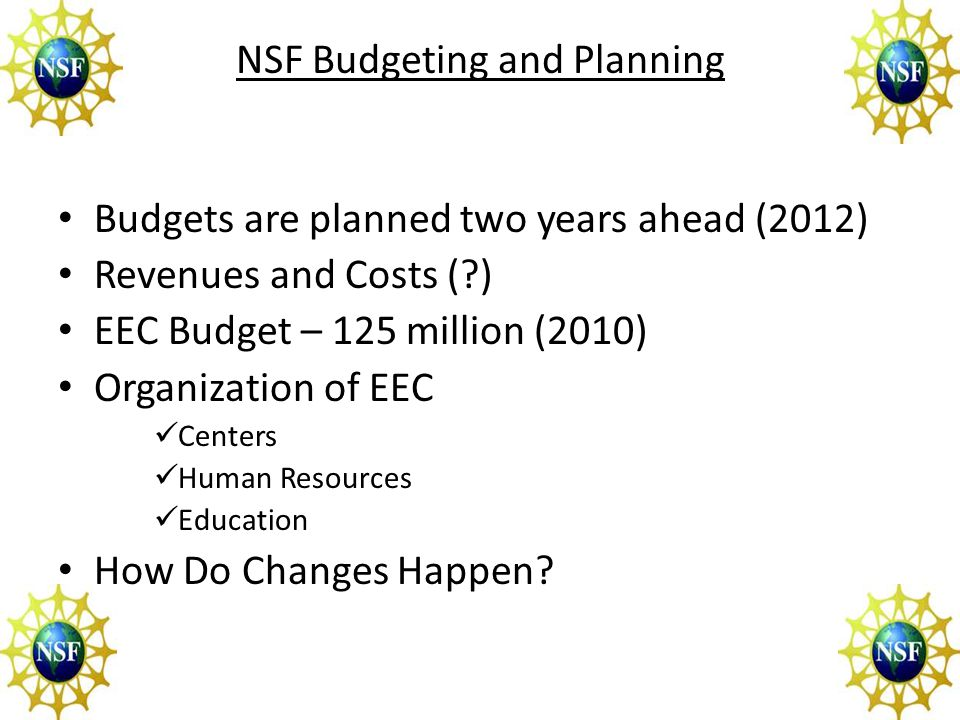 Observations 1)Engineering is one of Several Directorates 2)NSF submits one overall Budget (facilitated by OMB) 3)Important Leaders NSF Director Eng AD EEC Division Director Program Officers 4) Factors Contemporary Priorities (Nation) Special Studies (Organizations) Proposal pressure (PI Community) Successes (PI Community)