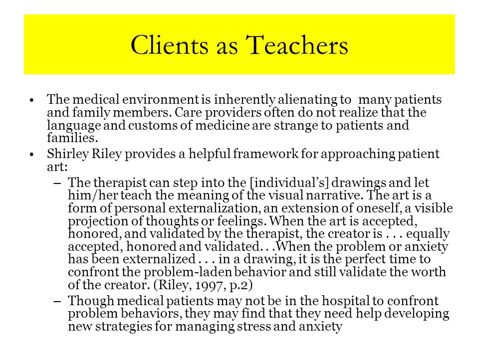 Defining Ourselves In the Tracy's Kids Art Therapy Programs: Art therapists serve as integrated members of the multidisciplinary treatment team.
