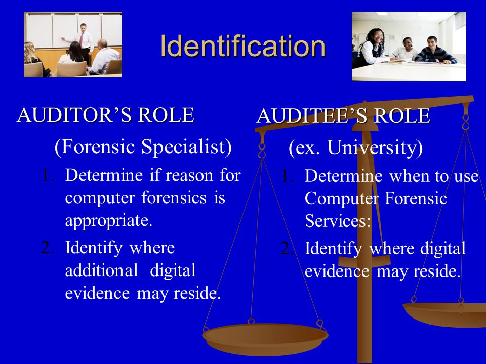 Collection of Evidence IT AUDITOR'S ROLE – –Help Client Secure the computer to be examined – –Require and Complete Necessary Forms – – Securely Collect Computer from Client AUDITEE'S ROLE –Ensure that computer to be examined remains secure until collected –Notify Appropriate Personnel –Complete Chain of Custody Form