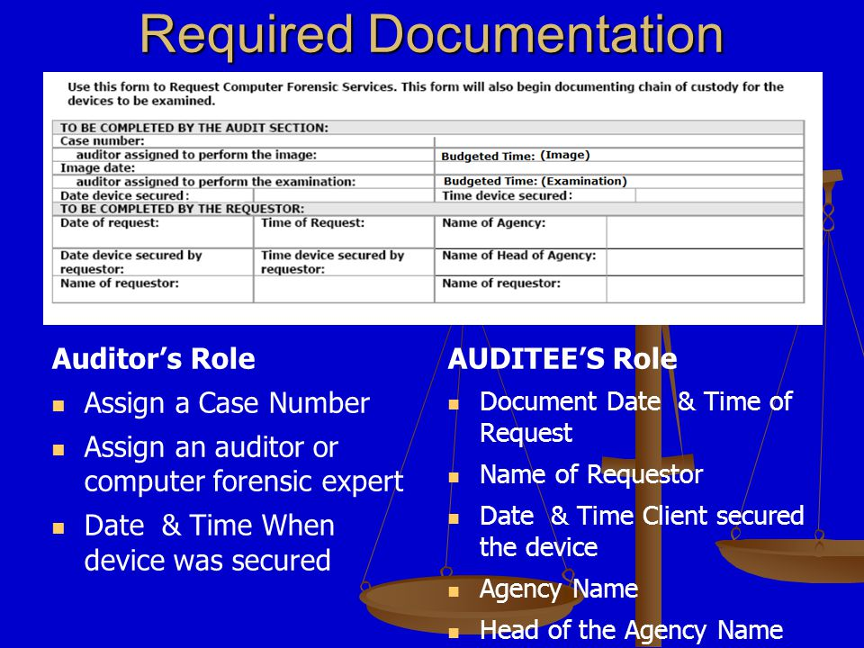 Required Documentation Auditor's Role Document: Serial Numbers Mac Address -Static IP Address Make & Model AUDITEE'S Role Document: Reason For Request Desired Objectives