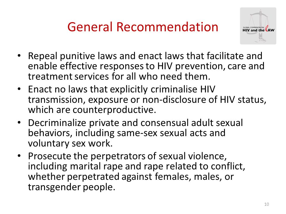 Recommendations on MSM  Countries must reform their approach towards sexual diversity.