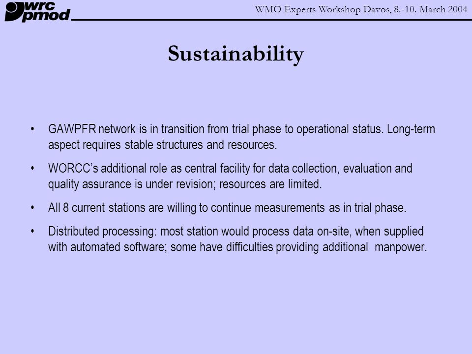 WMO Experts Workshop Davos, 8.-10.