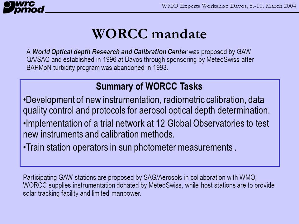 WMO Experts Workshop Davos, 8.-10.March 2004 What is measured and how.