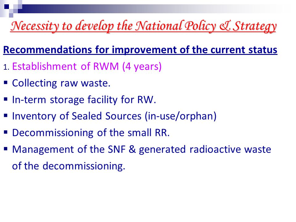 Necessity to develop the National Policy & Strategy Recommendations for improvement of the current status 2.
