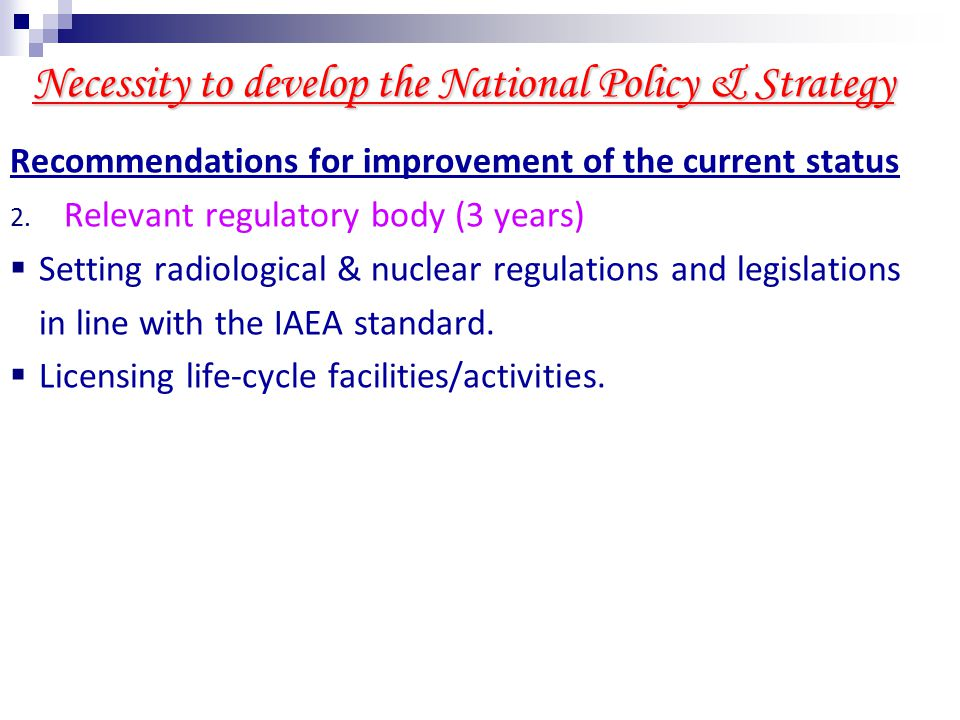 Suggestions for the Policy statement of RWM & DSRS Recommendations for improvement of the current status 3.