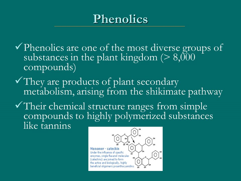 Phenolic Compounds: Properties Chemical Properties Natural antioxidants Radical scavengers Metal chelators Nutrition and Health Properties Prevention of cancer and cardiovascular diseases Antimicrobial, anti-diarrheal, anti-viral, and anti-inflammatory effects Food sensory quality: astringency and bitterness Some are anti-nutritive, i.e.