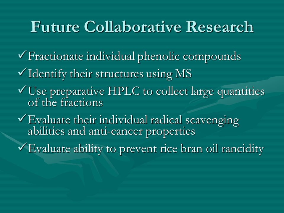 Future Collaborative Research Reducing rice bran rancidity Reducing rice bran rancidity Cross low esterase activity rice x High yielding U.S.