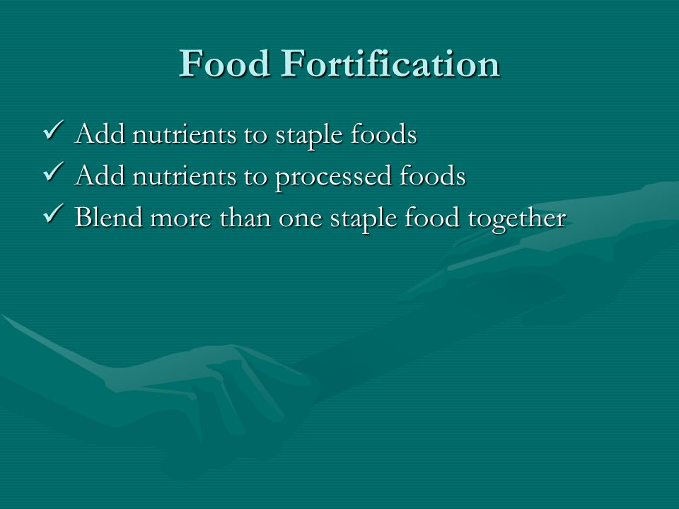 Pasta Fortification Excess wheat not suitable for use in bread or pasta Wheat is low in lysine Wheat + legumes = a complete protein (Soft wheat + 30% cowpea) x special processing method = high protein pasta