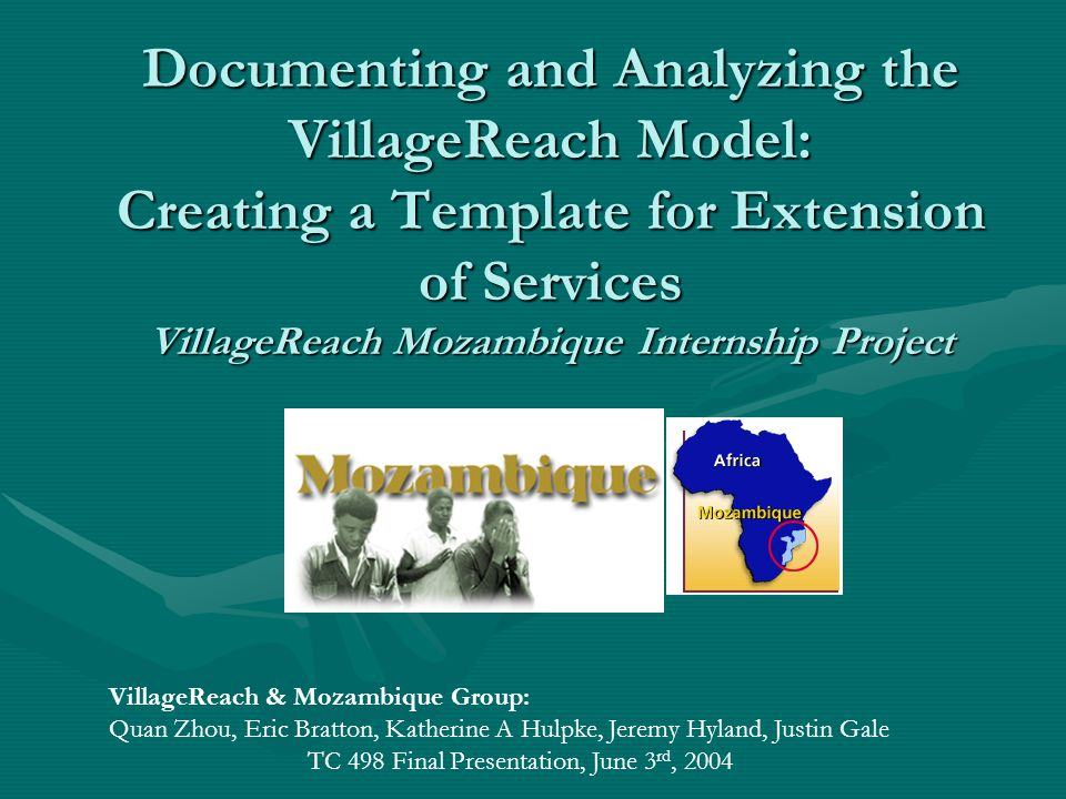 Purpose of the Handbook Serve as a resource for interns while in Mozambique Background of the country and VRBackground of the country and VR Objectives of InternshipObjectives of Internship MethodologyMethodology DeliverablesDeliverables ResourcesResources