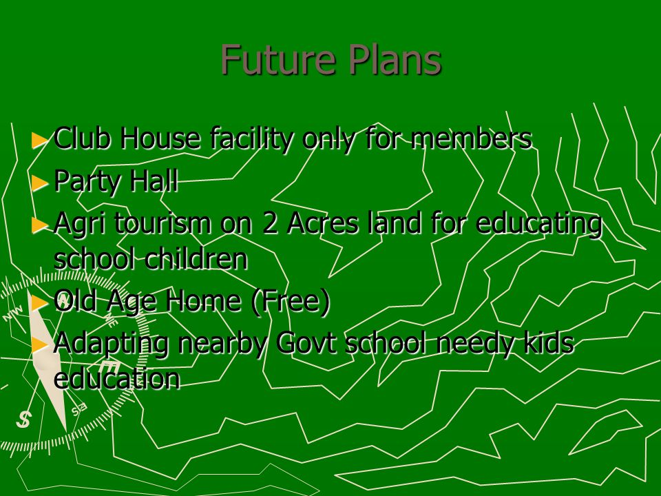 Future plans – Continues… Integrated farms with cows Cober gas generator for lighting Solar street lights Wind mill power generation Battery operated car for roaming around the farms Herbal & Organic plantations