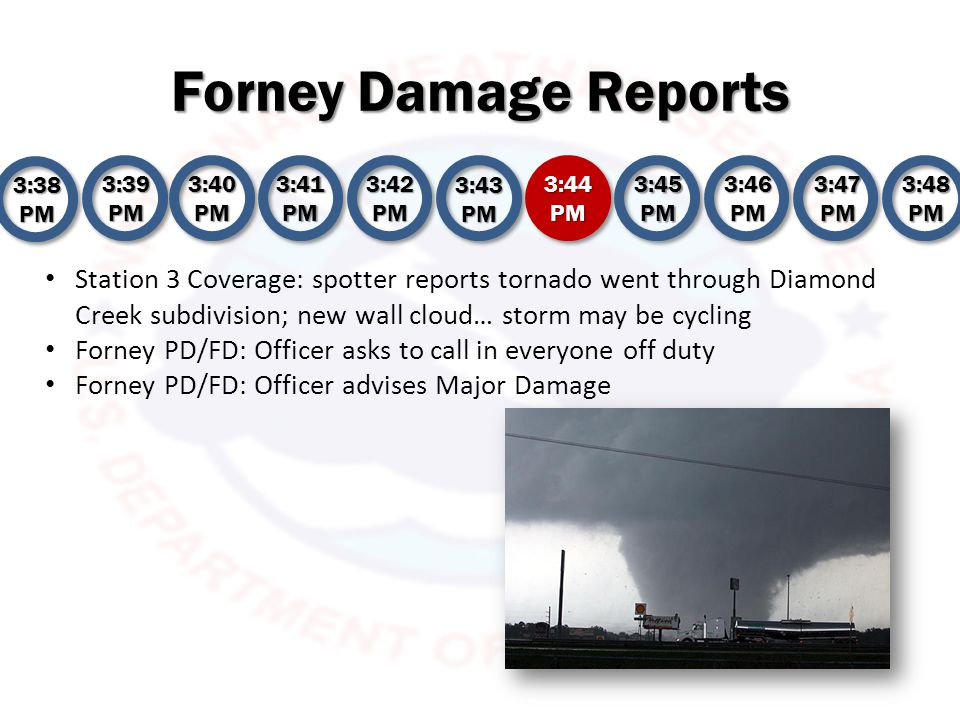 Forney Damage Reports 3:38 PM 3:39 PM 3:40 PM 3:41 PM 3:42 PM 3:43 PM 3:44 PM 3:45 PM 3:46 PM 3:47 PM 3:48 PM Station 1 reports Crosby Elementary has been hit (Diamond Creek subdivision) Station 2 states damage is near FHS, but does not have confirmation Station 3 spotter states tornado did roof damage to Crosby Elementary TOR has lifted ATTM Thanks Forney PD/FD: Injured Baby Forney PD/FD: Officer advises that N.