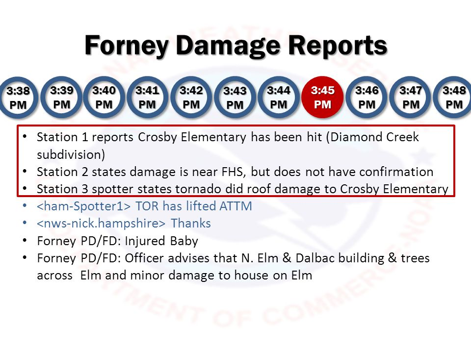 Forney Damage Reports 3:38 PM 3:39 PM 3:40 PM 3:41 PM 3:42 PM 3:43 PM 3:44 PM 3:45 PM 3:46 PM 3:47 PM 3:48 PM Station 3 spotter reports cars overturned at Crosby Elementary Do we have confirmation the high school was hit/ .