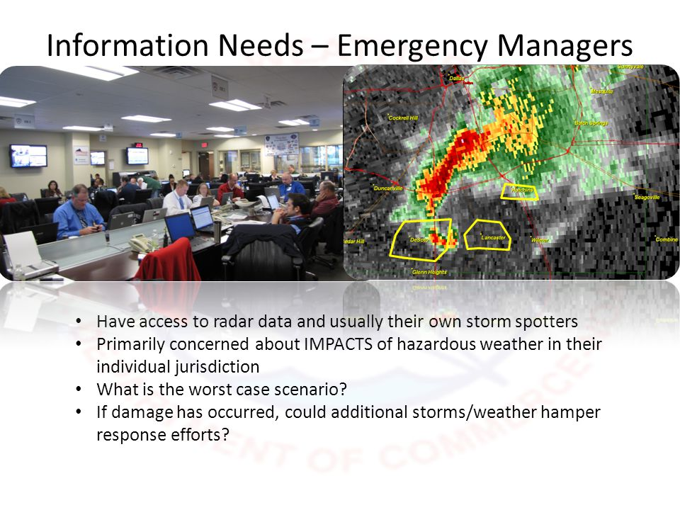 Information Needs – NWS Have access to radar data and other real-time remote sensing technologies Needs ground truth reports to issue effective warnings: o Can monitor local media visually, but too much noise for audio monitoring during a severe weather event o Amateur radio operators communicate with organized county spotter groups o Direct contact with city and county officials