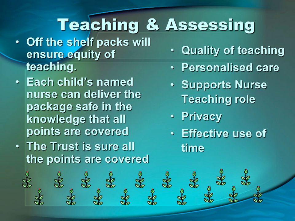 Teaching & Assessing Off the shelf packs will ensure equity of teaching.Off the shelf packs will ensure equity of teaching.