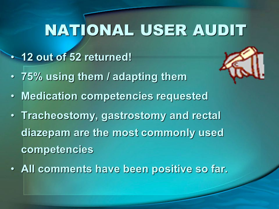 NATIONAL USER AUDIT 12 out of 52 returned!12 out of 52 returned.