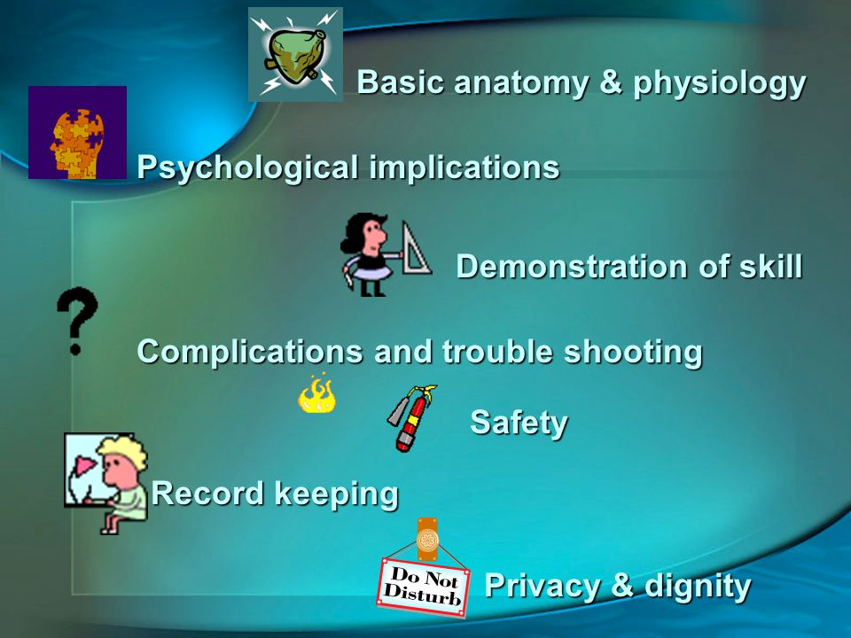 Basic anatomy & physiology Psychological implications Demonstration of skill Complications and trouble shooting Safety Record keeping Privacy & dignity