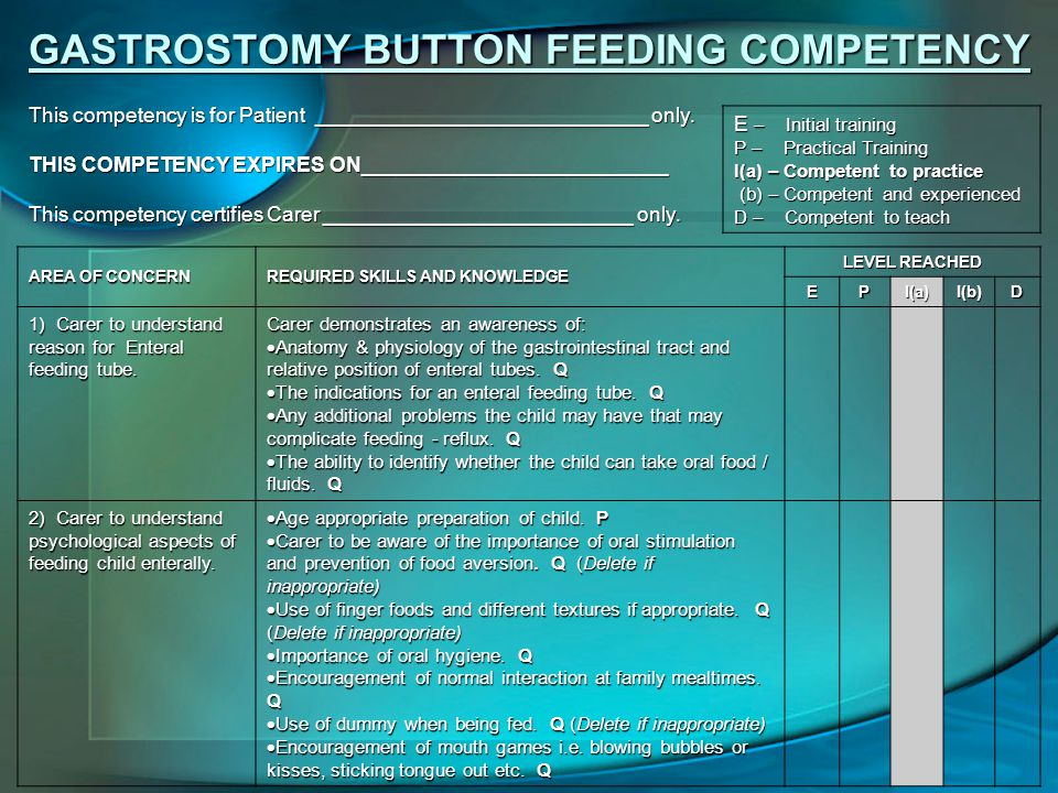GASTROSTOMY BUTTON FEEDING COMPETENCY E – Initial training P – Practical Training I(a) – Competent to practice (b) – Competent and experienced (b) – Competent and experienced D – Competent to teach This competency is for Patient _____________________________ only.